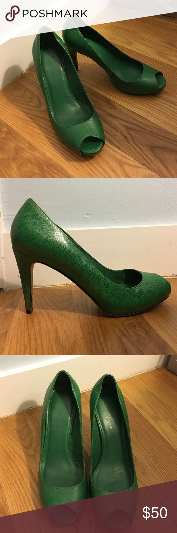 Green Cole Haan peep toe pumps Green leather peer toe pumps from Cole Haan!  Gently worn, but in good condition.  This pair of statement shoes will make an outfit. Cole Haan Shoes Heels