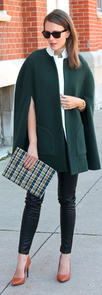 Green Woolen Street Chic Cape by Penny Pincher Fashion
