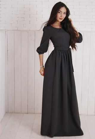 Black polka dot maxi dress with sleeves coming soon to Mode-sty #nolayering #sleevesplease