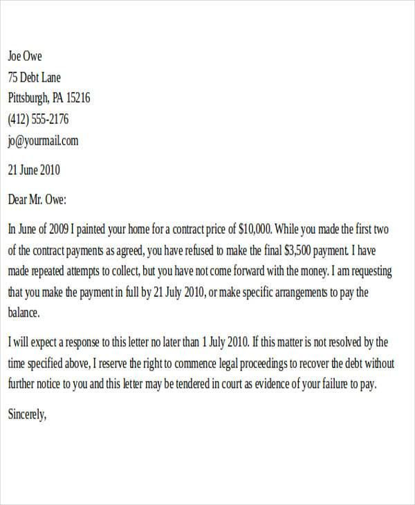 Demand For Payment Letter