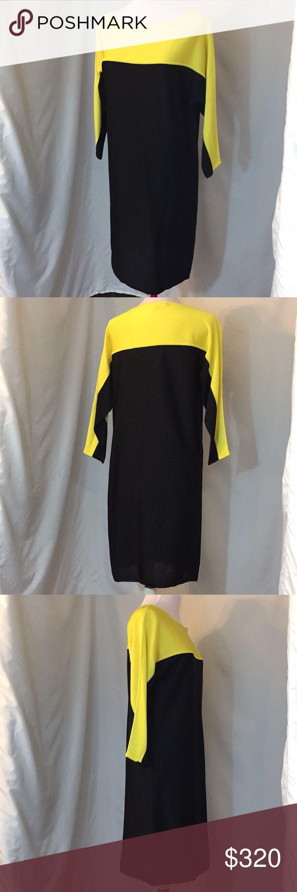 Ralph Lauren Dress Authentic  Ralph Lauren Size M Originally $1000 Excellent condition  Black, yellow, dress  **CA200 Ralph Lauren Dresses Midi