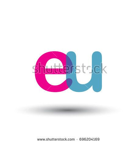 initial logo EU lowercase letter, blue and pink overlap transparent logo, modern and simple logo design.