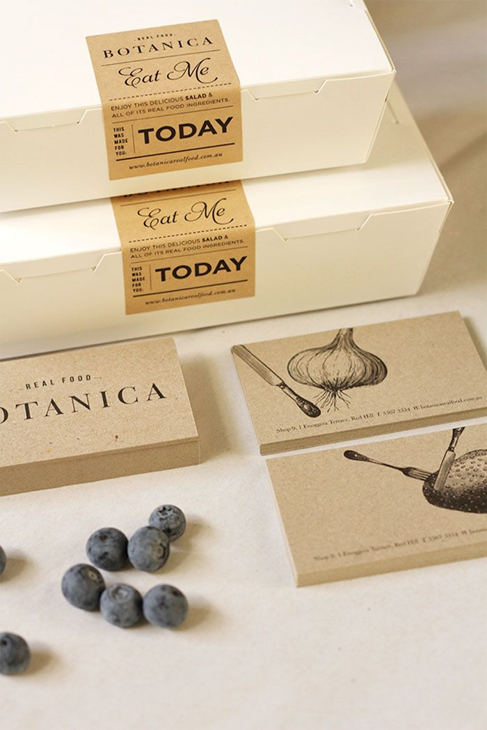 Minimalistic sustainable packaging, using kraft paper stickers.