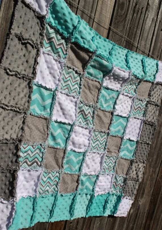 Gray & Aqua CHEVRON Rag Quilt/Blanket! Adorable baby boy nursery crib bedding/quilt, aqua nursery, gray nursery, aqua and gray nursery, by BabyBazerk, $75.00