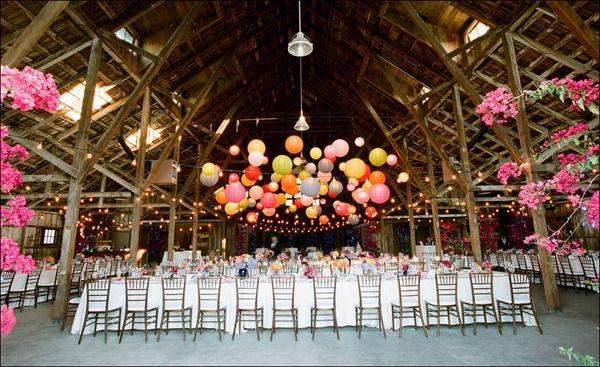 Paper lanterns look like a balloon drop with a fun array of colors. http://www.partylights.com/Lanterns
