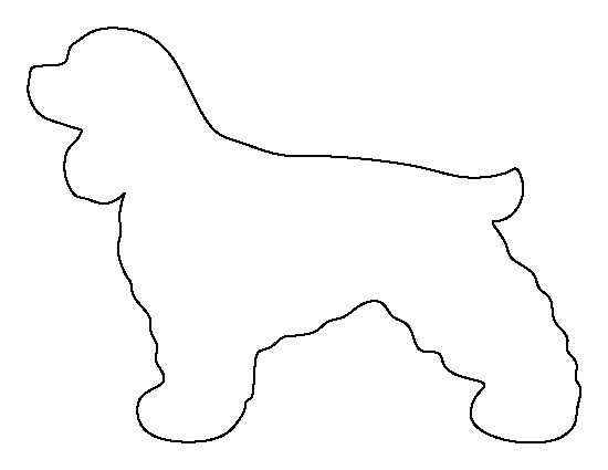 Cocker Spaniel pattern. Use the printable outline for crafts, creating stencils, scrapbooking, and more. Free PDF template to download and print at http://patternuniverse.com/download/cocker-spaniel-pattern/