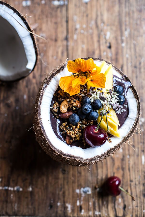 Summer Acai Bowl with Big Cluster Toasted Buckwheat Granola | halfbakedharvest.com @hbharvest: