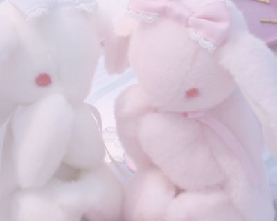 Stuffed animals angel pastel pale aesthetic