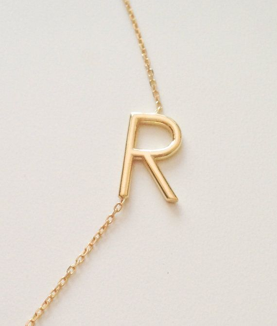 gold sideways initial necklace personalized by eleajewelry