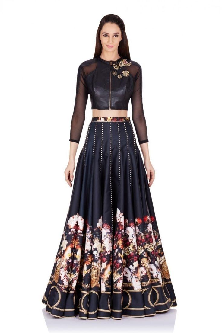 Falguni & Shane Peacock - Floral & Baroque Border Printed Skirt