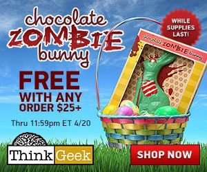 Free Chocolate Zombie Bunny with purchase any order over $25 @ Think Geek NO CODE NECESSARY  For a limited time, get Free Chocolate Zombie Bunny with purchase any order over $25. The promo starts NOW and ends April 20th 11:59PM EST so HURRY