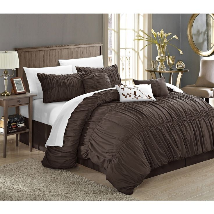 Chic Home Frances 7-piece Coffee Pleated and Ruffled Comforter Set