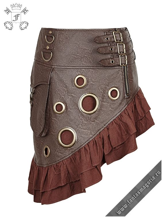 Asymmetric trumpet shape Steampunk skirt with large hollow circle rivets. Made of faux (vegan) leather Note: this skirt has a pocket at the right