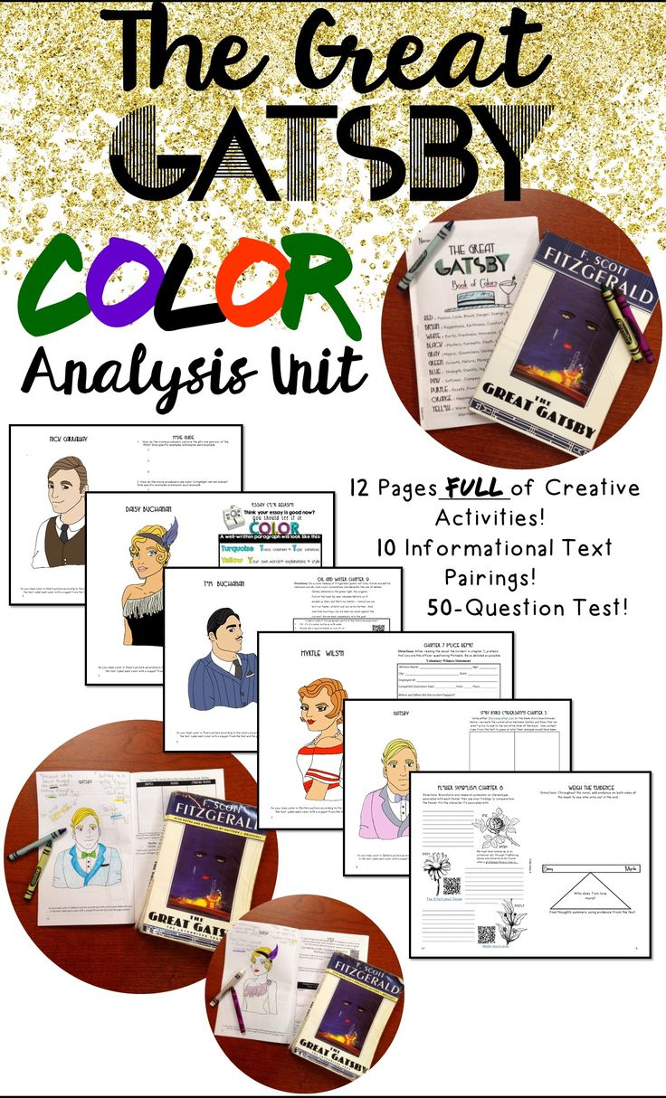 best images about the great gatsby english the great gatsby color analysis unit plan informational text gatsby test