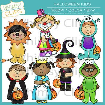 Halloween kids in costumes. This set includes 10 kids in costumes in both color and black and white for a total of 20 image files in both png and jpg. All images are 300dpi.