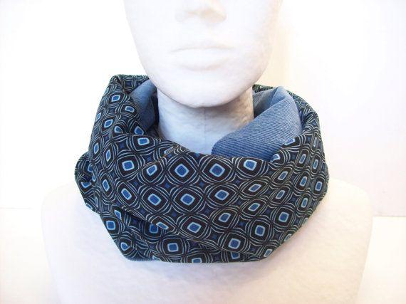 snood femme bleu et noir a motifs geometriques  par tchaiwalla