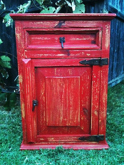 Rustic Nightstand , End Table , Side Table With Drawer And Door , Upcycled    Painted