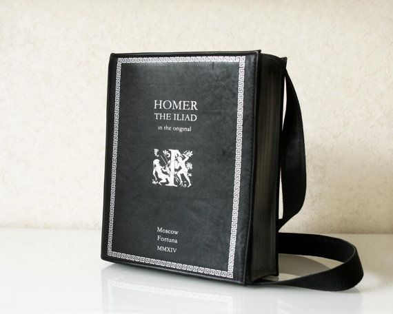 The Iliad Book Bag Homer Leather Book Bag by krukrustudio on Etsy
