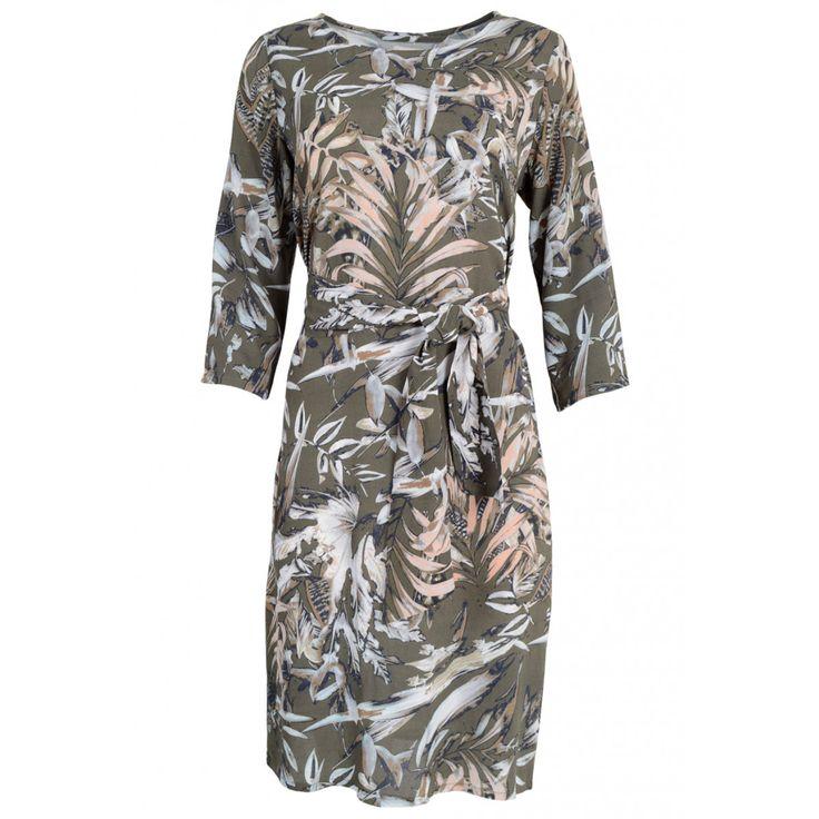 Minus Mirella Dress Jurk Leaf Print Groen | Fabriq