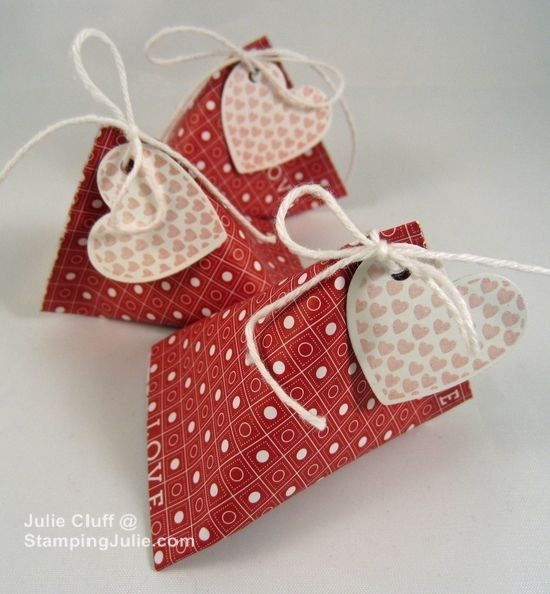Valentine mini sour cream containers ~ Julie Cluff