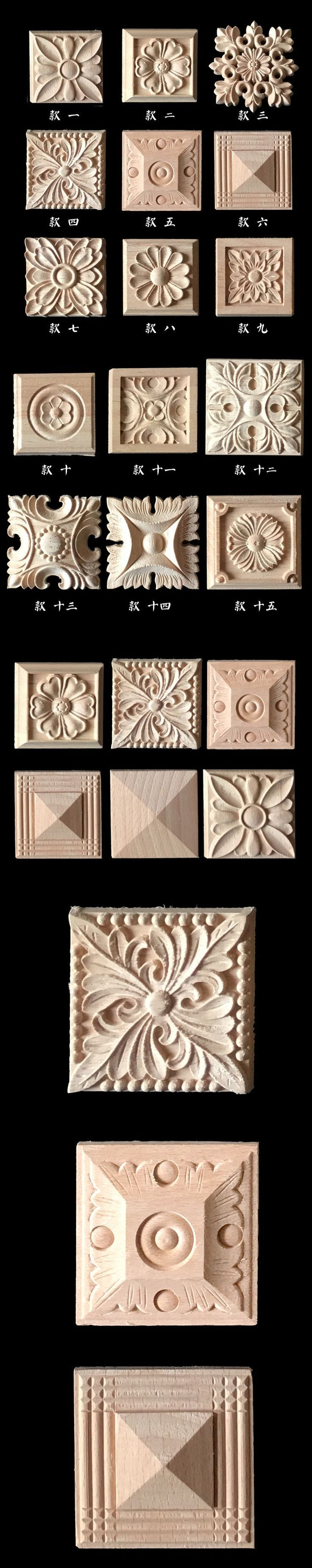 Wood carving applique 5pcs , Europe vintage nautical home decor ,Furniture cabinet door Solid wood crafts flower alphabet carve $25.95