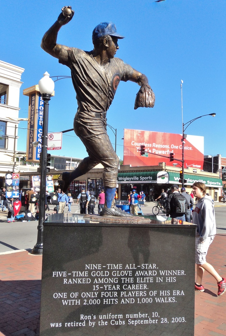 Ron Santo sculpture at the entrance to Wrigley Field in Chicago