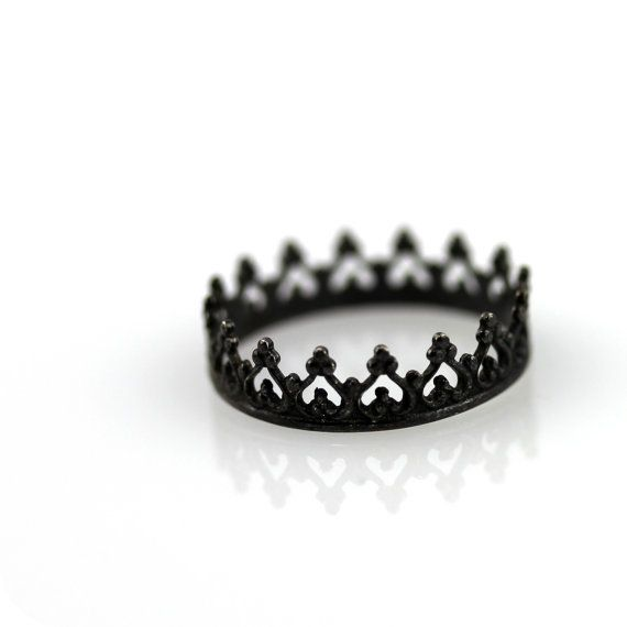 Black crown ring  oxidized sterling silver ring by junedesigns, $26.00