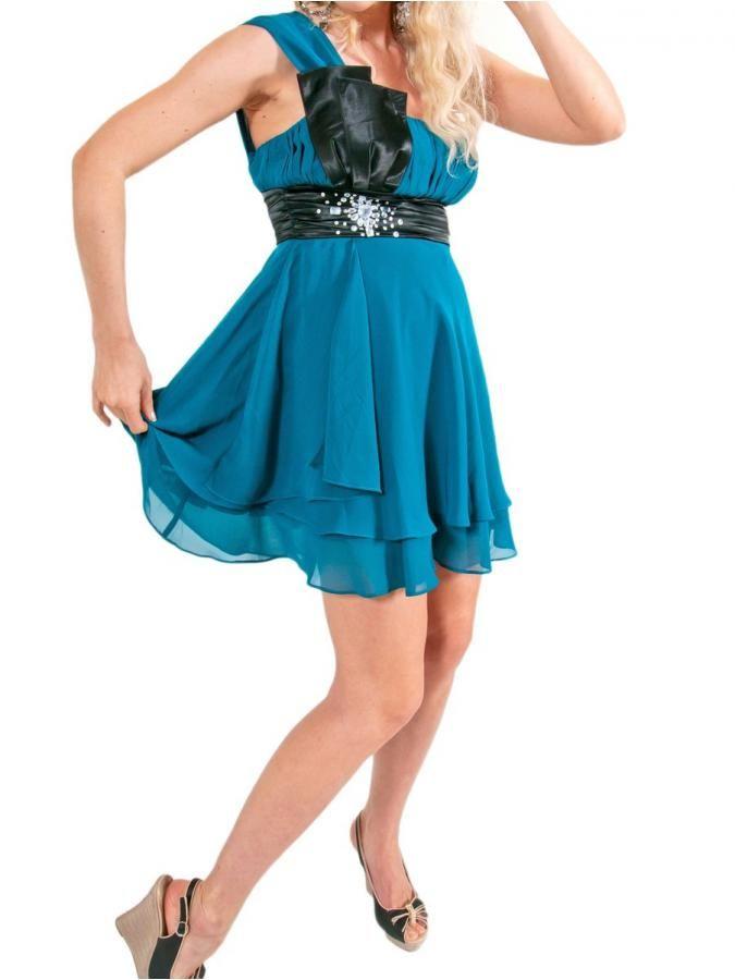 Midi Φόρεμα Ένα Ώμο, Πετρόλ