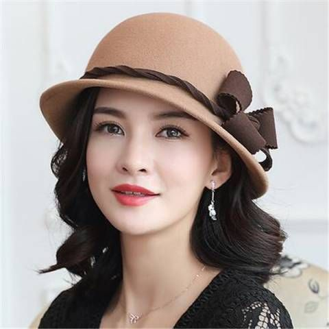 3716adb387b Flower wool cloche hat for women fashion winter bucket hats