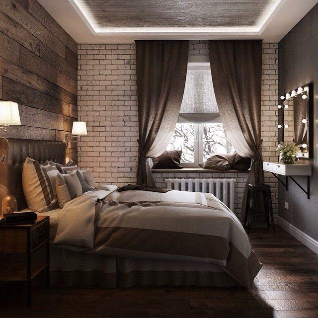 Спальня от Алексея Корчинского. Стена из досок за спинкой кровати. Коричнево-серый общий тон