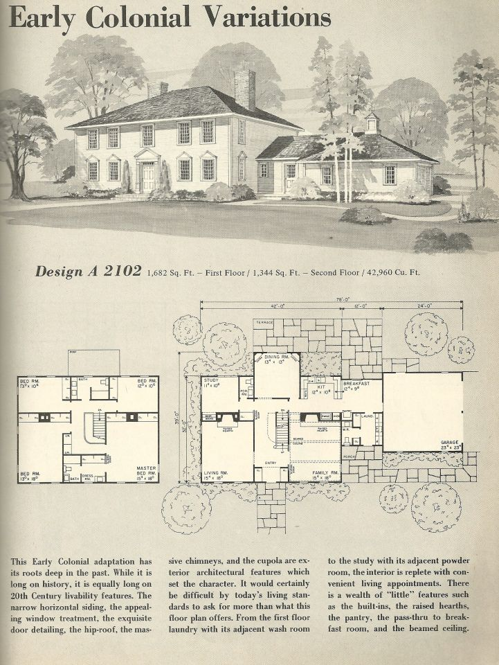 Vintage House Plans, Early Colonial  DESIGN A 2102