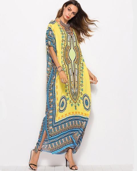 6fce3d7c0ff7 Color:blue,white Size:free size Material:Viscose Silhouette:loose Dress  length:long Sleeve length:short sleeve Neckline:v neck Pattern type:Floral  Print ...