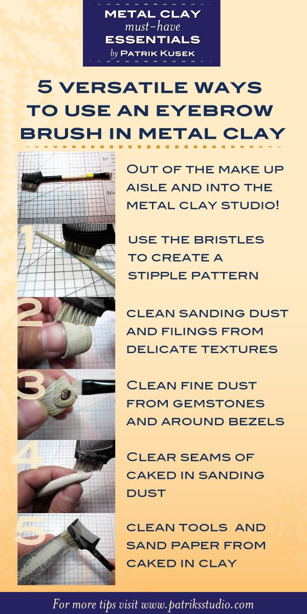 Metal Clay Essentials Eyebrow Brushes by Patrik Kusek - Come usare i pennelli nella lavorazione del metal clay