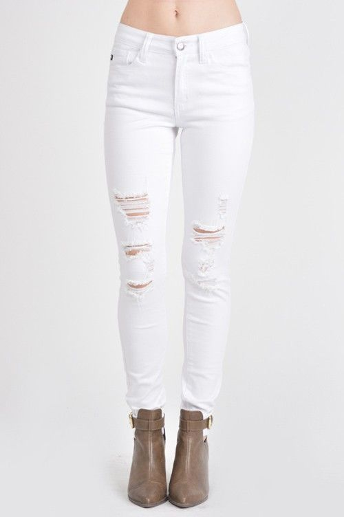 "Kan Cam White Distressed Jeans 51% COTTON , 34% RAYON, 14% POLYESTER, 1%SPANDEX Front Rise 9 1/2"" Inseam 30"""