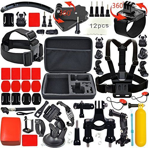 Leknes Lot de 52 Accessoires Professionnels Sports Aquatiques Extrêmes Mécaniques Accessory Set for GoPro Hero 5 4 3+ 3 2 1 Noir Argent…