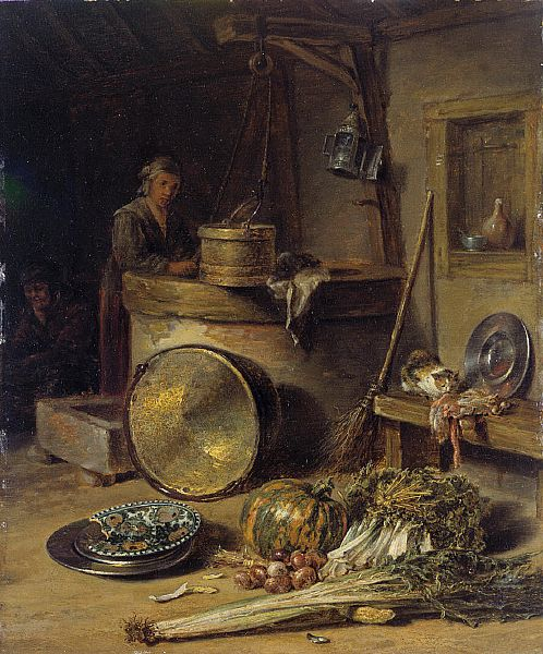 "Willem Kalf (1619 – 1693) was a Dutch Golden Age painter who specialized in still lifes ~ ""Peasant Interior with Woman at a Well"""