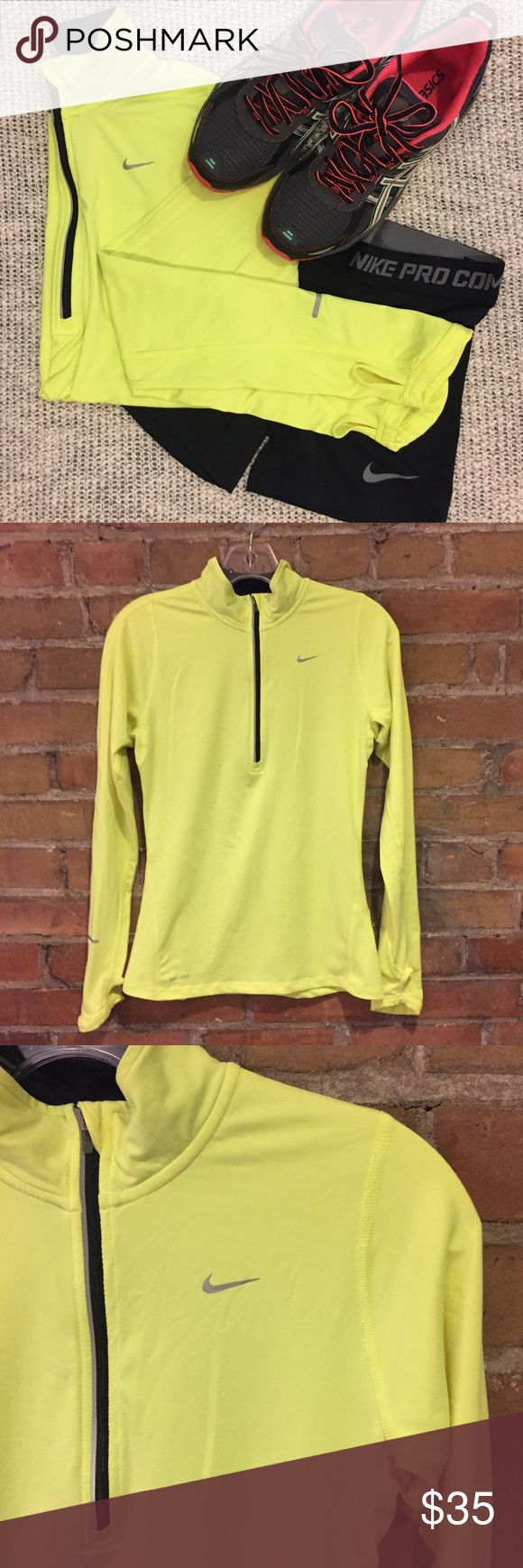 NIKE DRI-FIT Bright Yellow Zip-Up Long Sleeve Top Nike logo on left side of chest, thumb holes. Super soft on the inside, nice and smooth on the outside. Really bright yellow (last pic of back side the best)! Worn only once or twice in spring weather. This running shirt is in great condition. Measurements on request 💕 Nike Tops Sweatshirts & Hoodies