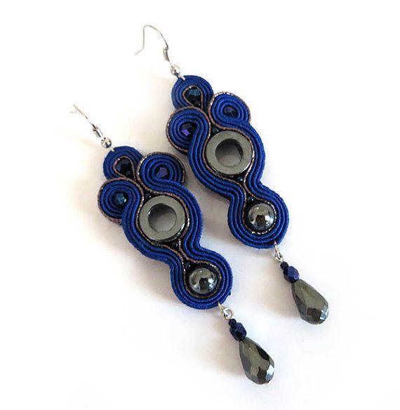 Navy Blue Earrings dangle earrings elegant sparkling by sutaszula