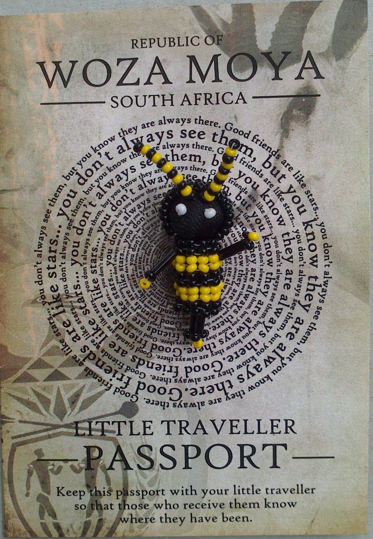"Bee Traveller  - ""Inyosi"" which means ""bee"" The bee Traveller is about Ubuntu the spirit of working together for the common good of the family.  These are made by the Dlamini family. At Woza Moya the crafters are the bee family."