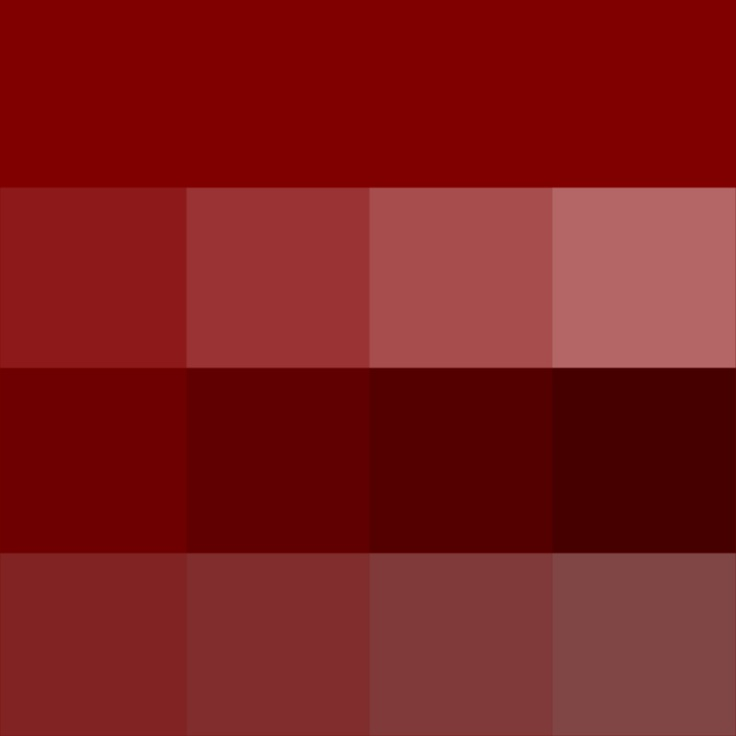 #Maroon (Hue) ( pure color ) with Tints (hue + white), Shades (hue + black) and Tones (hue + grey, which desaturates the Hue)