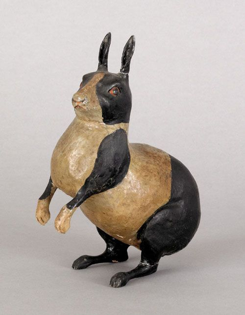 """Realized Price: $ 3555 Carved and painted figure of a rabbit, attributed to John Reber, Southeastern Pennsylvania, late 19th c., 4 3/4"""" h."""