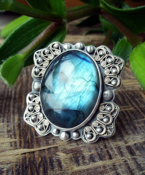Labradorite, Sterling Silver and Brass -                  Asleep in the Forest Ring
