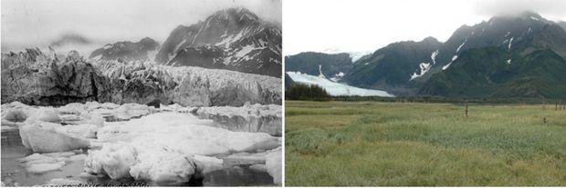 Aljaška v lete 1917 vs. v lete 2005 (Foto: NASA)