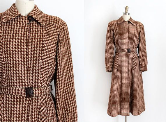 vintage 1940s coat // 40s wool houndstooth coat by TrunkofDresses