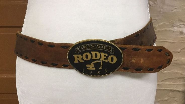 Case Excavator Rodeo 1985 Belt Buckle and Hand Tooled Leather Belt Blue Fox 34  | eBay