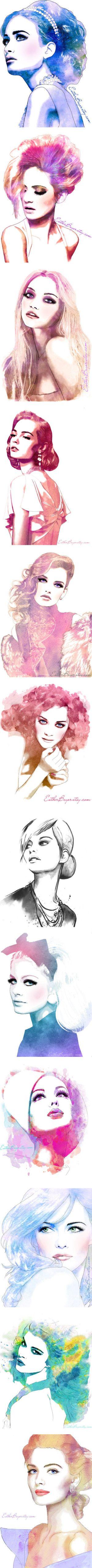 """Watercolor Fashion Drawings"" by meschtera"
