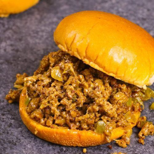 The easiest and most unbelievably delicious Philly Cheesesteak Sloppy Joes! And it'll be on your dinner table in just 30 minutes. All you need is only a few simple ingredients: ground beef, beef broth, Worcestershire sauce, catchup, cornstarch and hamburger buns. Quick and easy dinner or lunch recipe. Video recipe. | Tipbuzz.com #SloppyJoes #PhillyCheeseSteak #beefbrothrecipessimple