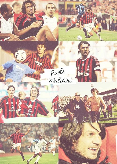 il capitano Paolo Maldini con il Milan come sempre.