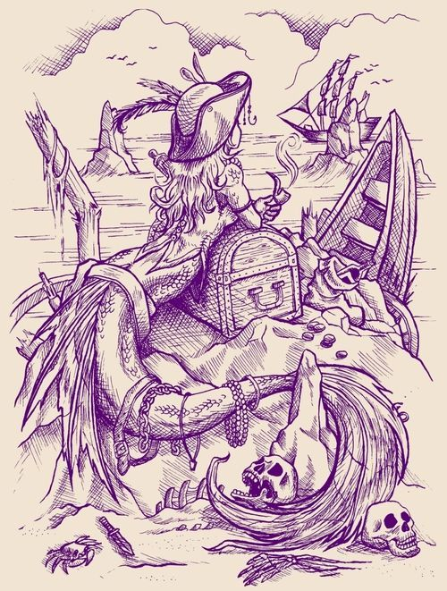 mermaid drawing / tattoo design: