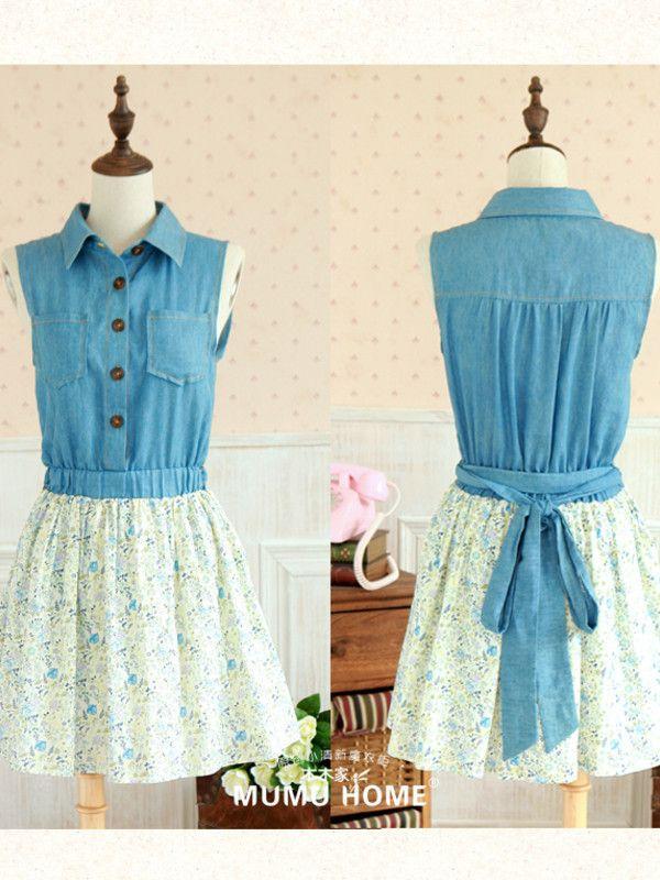 small town girl denim floral contrast dress  #asianicandy #asianfashion #backtoschool